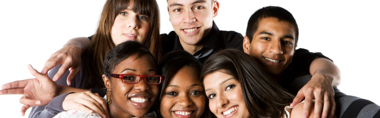 Photo: Racially Diverse Students Smiling in a Group