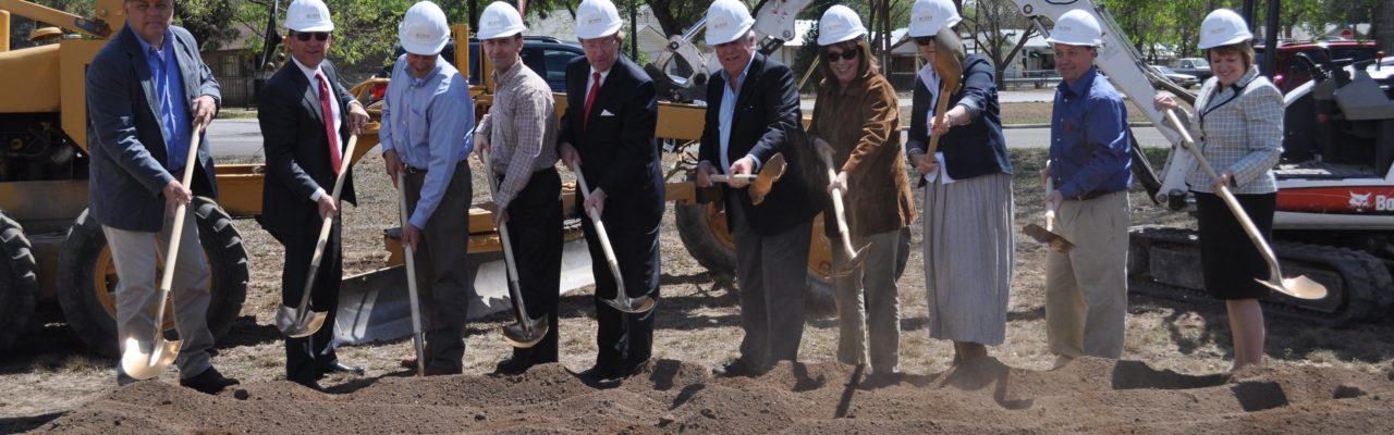 Photo: Community leaders shovel dirt