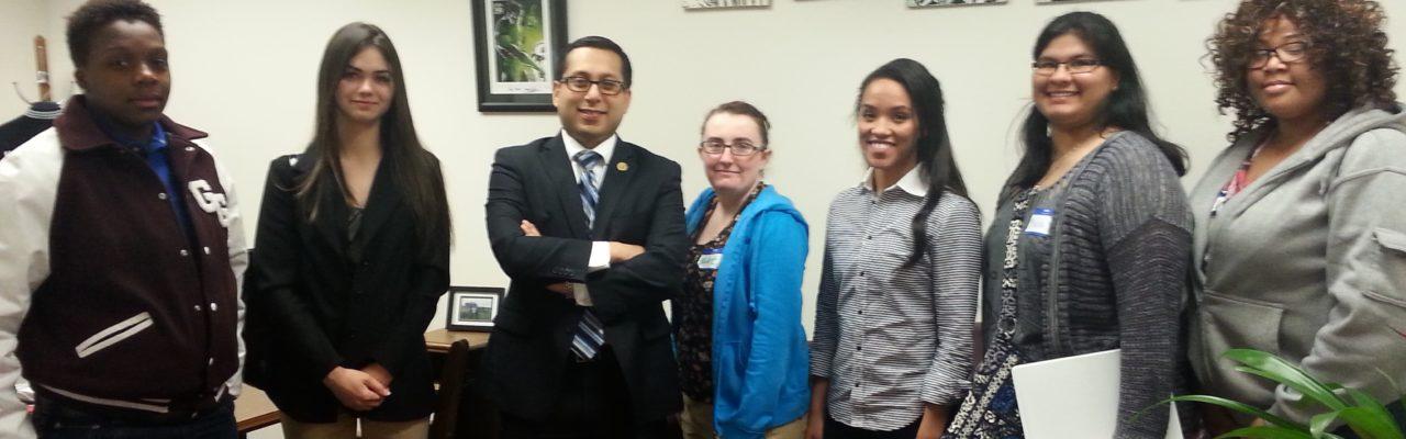 Photo: Foster care alumni with Representative Diego Bernal