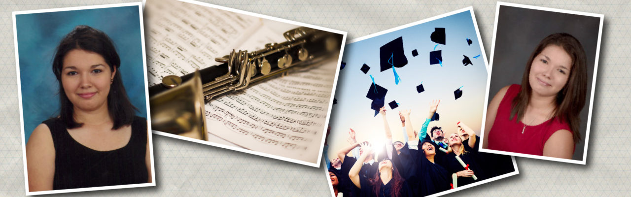 Photo Collage: Aspen, a clarinet and students tossing their graduation caps