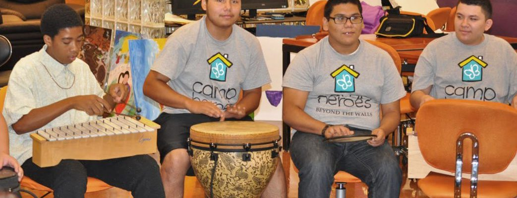 Photo: Camp Heroes Youth in a Drum Circle