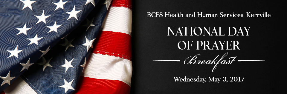 BCFS Banner: National Day of Prayer, breakfast, Wednesday, May 3,2017