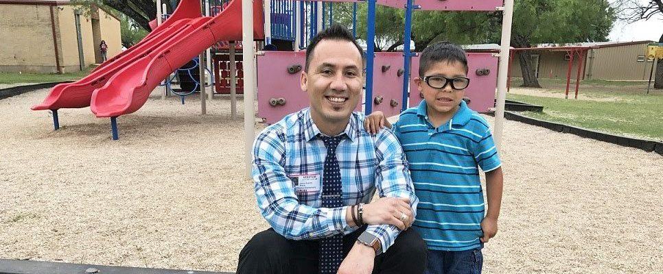 Photo: Dr. Espino with Head Start student Garrett