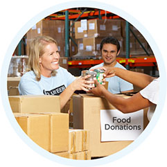 Photo: People Packaging Food Donations
