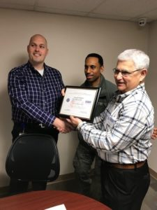 Photo: Kenneth Williams accepting ESGR's Patriotic Employer Award