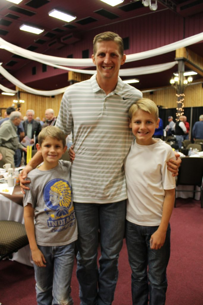 Luke McCown with two of his six children