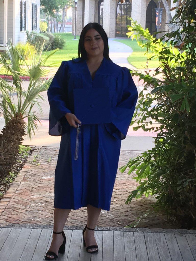 Elvia in graduation gown
